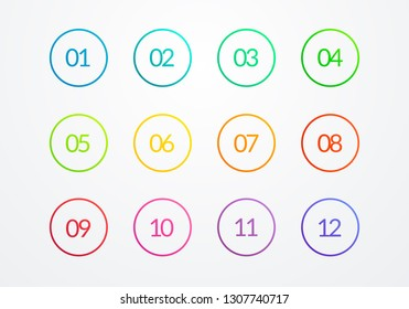 Vector Illustration Clear Flat Outline Bullet Point Circle Number 1 to 12. Web Element