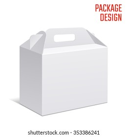 Vector Illustration of Clear Gift Carton Box for Design, Website, Background, Banner. White Handle Package Template isolated on white. Retail pack with for your brand on it