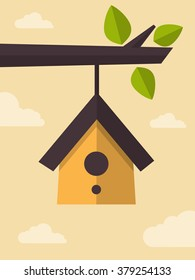 Vector Illustration of Clear Sky and a Bird House Hanging of a Branch, Flat Design Style.