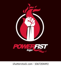 Vector illustration of clenched fist in the burning fire. Revolution idea symbol can be used as tattoo.