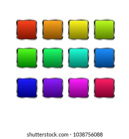 Vector illustration, clipart. Set of square buttons in different colors with metal frame.
