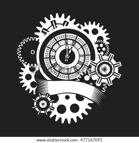 Vector Illustration Clock Face Surrounded By Stock Vector (Royalty