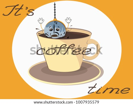 Vector Illustration Clock Put Into Coffee Stock Vector Royalty Free