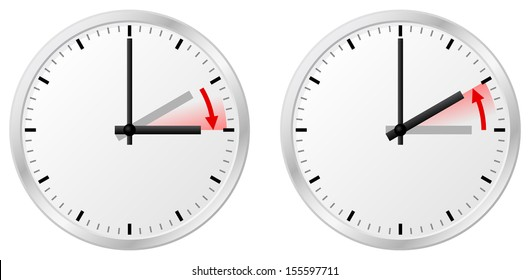 vector illustration of a clock switch to summer time and return to standard time