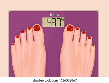 Vector illustration of a close up human feet with red toe nails standing on a pink scales. The concept of health care, weight problems, obesity, diabetes, sport, fitness and beauty for advertising