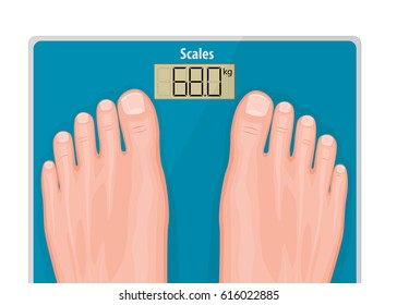 Vector illustration of a close up human feet with natural toe nails standing on a blue scales. The concept of health care, weight problems, obesity, diabetes, sport, fitness and beauty for advertising