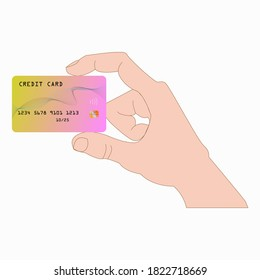 Vector illustration of close up multicolred credit card on hand, isolated on white.