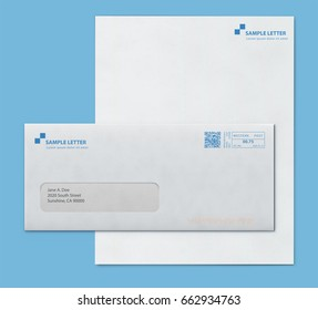 Vector illustration of closed envelope for letters and documents with transparent window an corporate letterhead blank paper isolated on blue background. Mockup post envelope and letter paper template