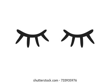 Vector illustration of closed eyes on white background