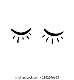 Vector illustration of closed sleeping eyes with cilia. Can be used as a print on clothes or for postcards.
