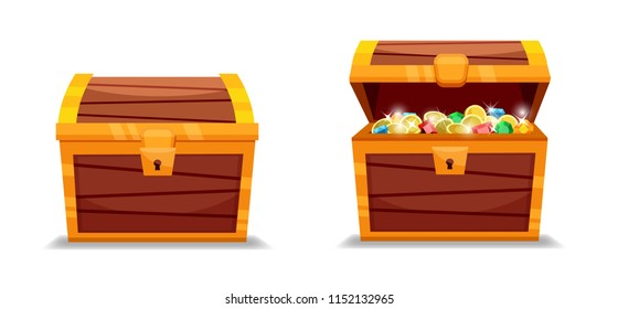 Vector illustration of closet and open treasure chest.EPS10