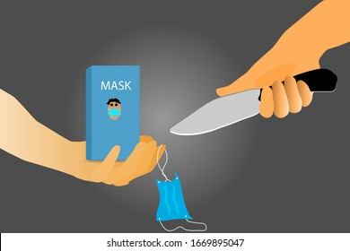 Vector illustration  Close-up of a hand holding a sharp knife and stripped of the cloth covering the nose  And the nose mask box is on the hand  Sending