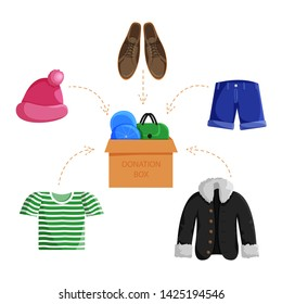 Vector Illustration of Clothes Donation in Flat Style. Concept for Charity Day. Illustration of Donation Box Full of Clothes. Social Care and Charity Concept