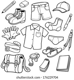 Vector illustration of Clothes set - Coloring book