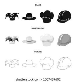 Vector illustration of clothing and cap icon. Collection of clothing and beret stock symbol for web.