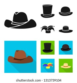 Vector illustration of clothing and cap logo. Set of clothing and beret vector icon for stock.