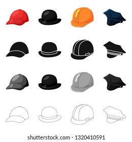 Vector illustration of clothing and cap logo. Set of clothing and beret stock vector illustration.