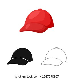 Vector illustration of clothing and cap symbol. Collection of clothing and beret stock vector illustration.