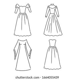 Vector illustration of clothing in til Doodle. Outerwear. Suits, fancy dresses.