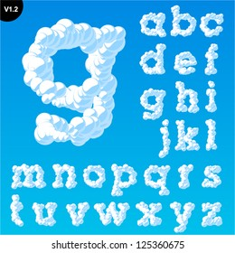 Vector illustration of cloud alphabet on a blue sky background. Font with serifs Smallcase