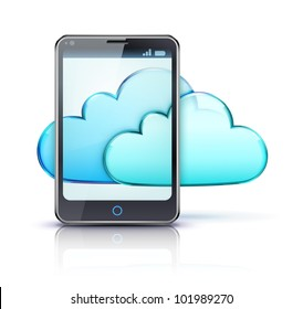 Vector illustration of cloud computing concept with modern cellphone and blue internet clouds icon