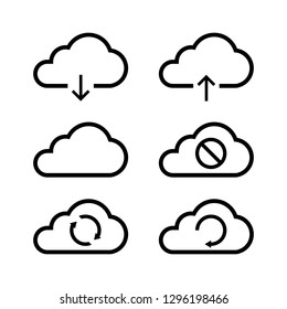 Vector illustration of cloud computing icon set, sign and symbol. Cloud upload, download, synchronization, connected, disconnected and refresh.