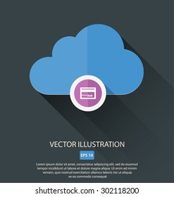 Vector illustration of cloud with different symbols icon