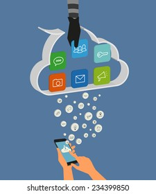 Vector illustration of cloud hacking during synchronization process between smartphone and cloud data storage. Thief hand picks up the data of social networking account