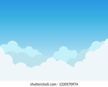 Vector illustration clouds on blue sky background