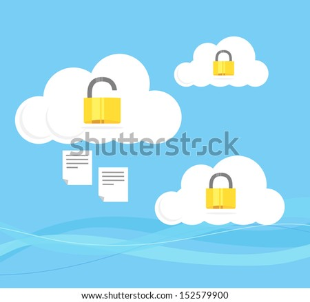 A vector illustration of clouds with padlocks opened and closed with blue sky background.