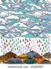 Vector illustration with clouds, rain and umbrellas.