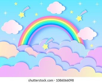 Vector illustration of clouds,stars and rainbow. Paper art style
