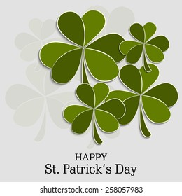Vector illustration of clover for Happy St. Patrick's Day in gray background.