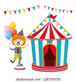 Vector Illustration Of Clown