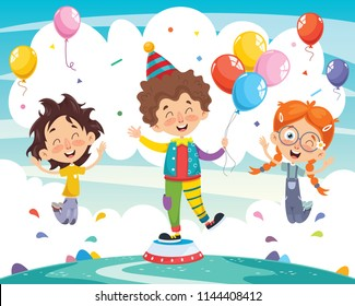 Vector Illustration Of Clown And Children