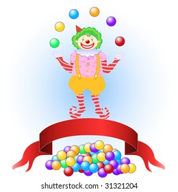 Vector illustration of clown juggling colorful balls. You can place letters on the balls to spell words.
