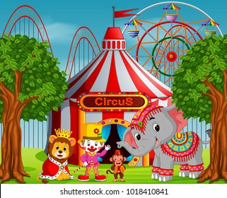 vector illustration of Clown and many animal with circus tent at amusement park