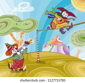Vector illustration, clown with toy gun shooting in harlequin playing mandoline, cartoon concept.