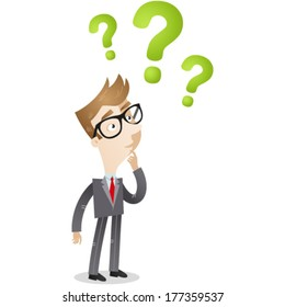 Vector illustration of a clueless cartoon businessman looking at three green question marks above his head.