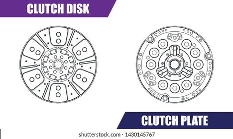 Vector illustration, clutch disk and clutch plate for tractor.