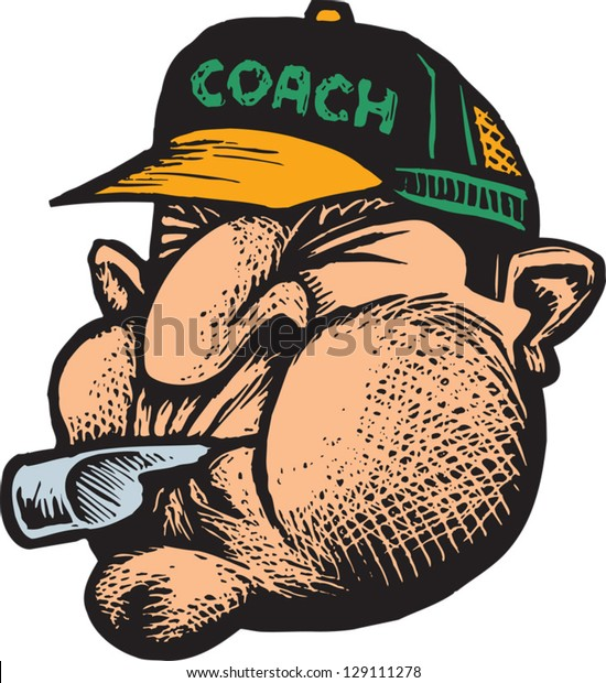 Vector illustration of a coach blowing whistle