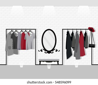 Vector illustration with coat rack, showroom. Closet with clothes, bags, mirror in flat style