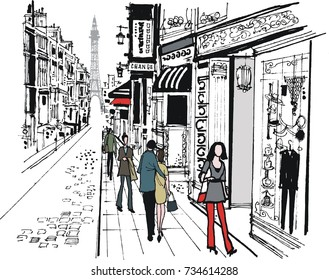 Vector illustration of cobbled street in Paris, France with pedestrians