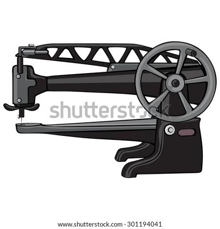 Vector Illustration Cobbler Sewing Machine Cartoon Stock Vector Impressive Cobbler Sewing Machine
