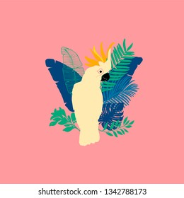 Vector illustration - Cockatoo parrot, exotic birds, tropical flowers, palm leaves, bird of paradise