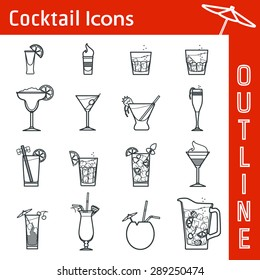 Vector Illustration of Cocktail Icon Outline for Design, Website, Background, Banner. Bar Element for Menu or Infographic Template. B-52, bloody Mary,  Pina colada, kir, Long Island
