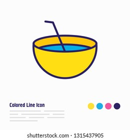 Vector illustration of coconut drink icon colored line. Beautiful hotel element also can be used as coco cocktail icon element.