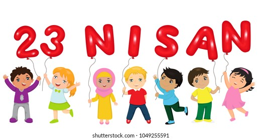vector illustration of the cocuk baryrami 23 nisan , translation: Turkish April 23 , graphic design to the Turkish holiday, kids icon, children logo
