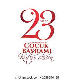 vector illustration of the cocuk baryrami 23 nisan , translation: Turkish April 23 National Sovereignty and Children's Day, graphic design to the Turkish holiday, kids icon.