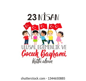 vector illustration of the cocuk baryrami 23 nisan, translation: Turkish April 23 National Sovereignty and Children's Day, graphic design to the Turkish holiday